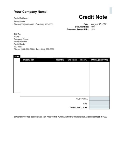 Credit Invoice Format Excel Credit Card Note Template Wordxerox