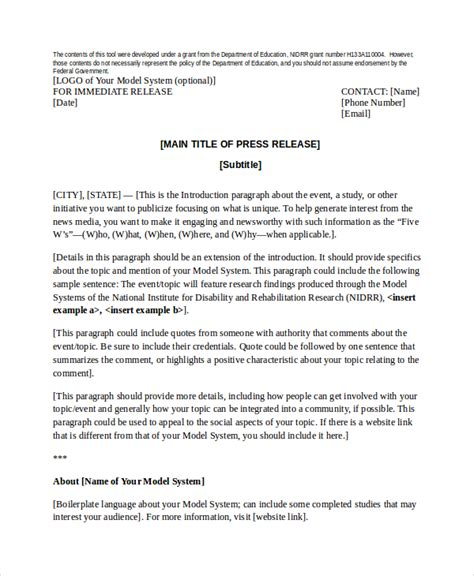 Press Release Template   20  Free Word, PDF Document