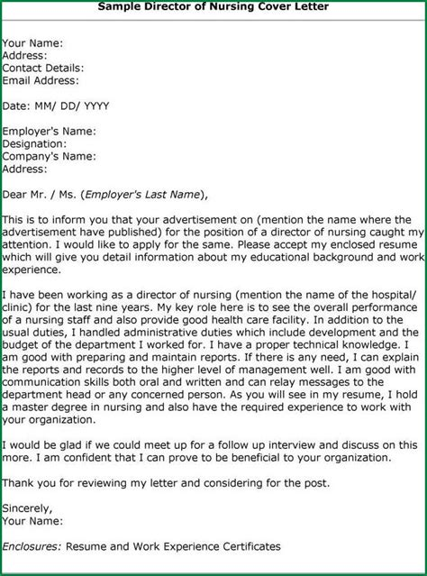 cover letter for nursing director sle cover letter for nursing www imgkid the