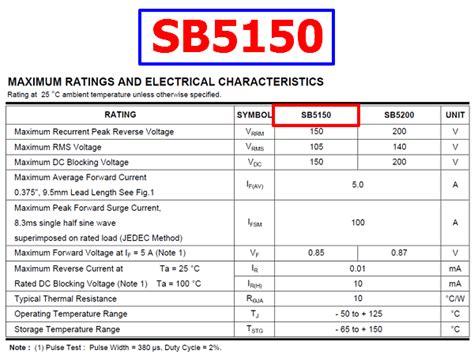schottky diode ratings sb5150 datasheet vrrm 150v schottky rectifier diode eic
