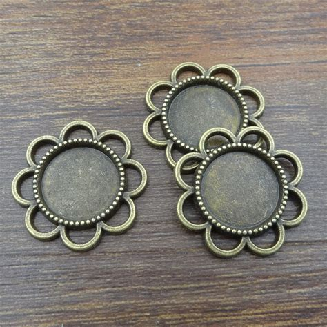jewelry components 10pcs 14mm flower bronze connectors necklace pendant