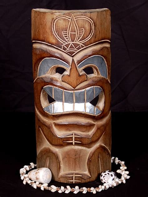 Tiki L by Carved Polynesian Tiki Mask 12 Quot Tropical Decor Ebay