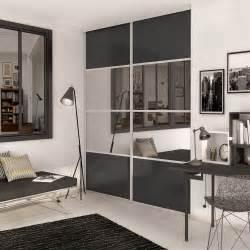 porte de placard coulissante gris graphite miroir spaceo