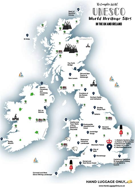 Find In The Uk This Map Shows You Where To Find Every Unesco World Heritage In The Uk And