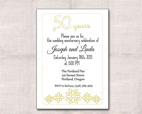 wedding anniversary invitation templates golden wedding anniversary invitation golden wedding