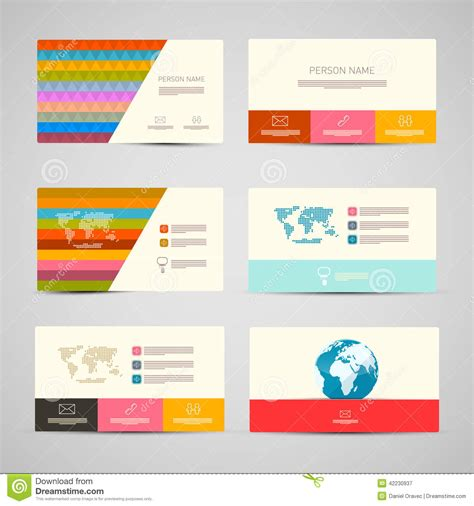 paper time card template vector paper business cards template set stock vector