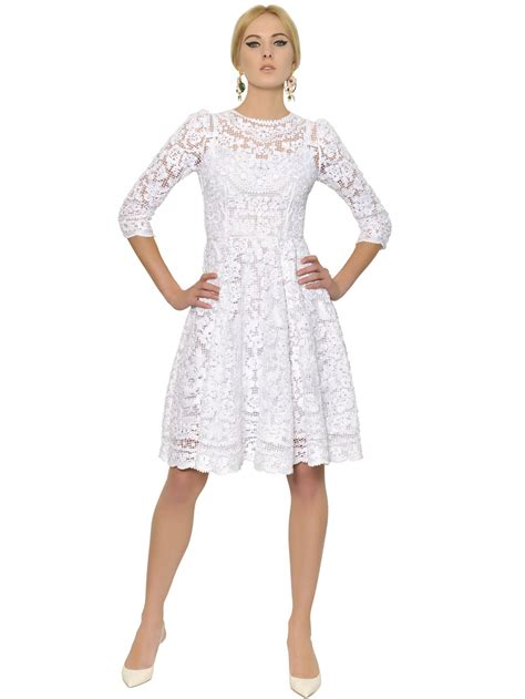 White Lace Black Cotton Dress lyst dolce gabbana white cotton filet lace dress in white