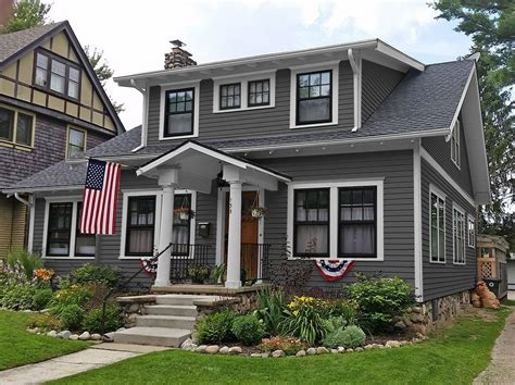 Charcoal Grey Siding - paint color ideas craftsman home with charcoal gray