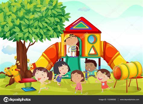 imagenes niños jugando en casa muchos ni 241 os jugando en el patio archivo im 225 genes