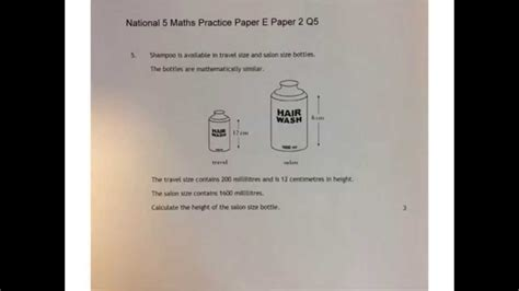 national 5 maths practice similarity national 5 maths practice e paper 2 q5 a youtube