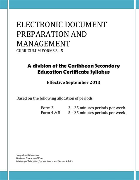 Office Administration And Management Course Outline electronic document preparation and management course outline