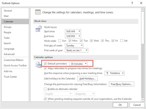 Calendar Reminder Outlook Tip 436 Free Busy And Reminder Defaults Outlook Tips