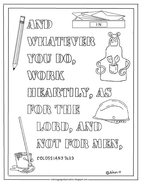 Colossians 3 Coloring Page by Coloring Pages For By Mr Adron Colossians 3 23
