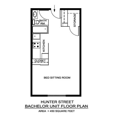 floor plan of a bachelor flat hunter street apartments locations a r c management