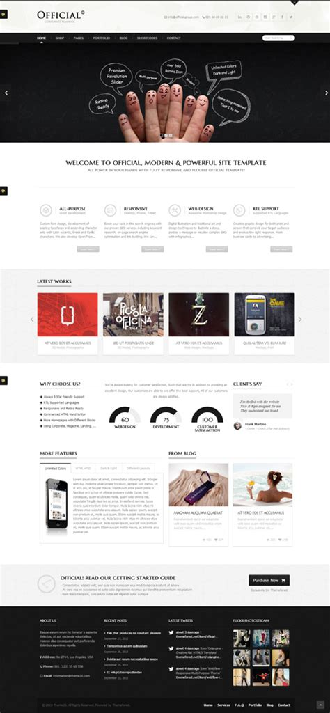 templates for official website one page html5 templates html5 css3 design blog