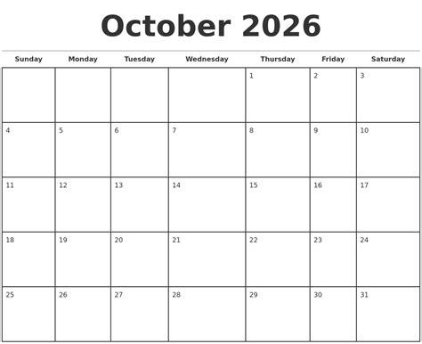 calendar template to type in october 2026 monthly calendar template