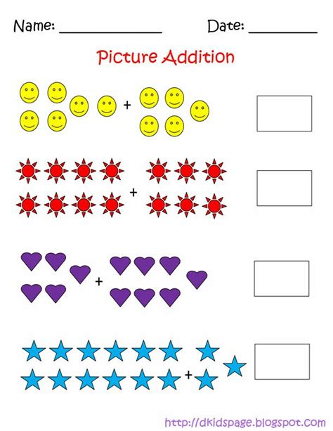 Picture Addition Worksheets by Page Picture Addition Math Worksheets