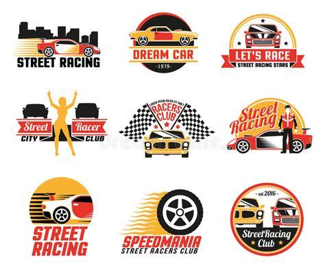street racing design elements vector street racing logo emblems icons set stock vector image