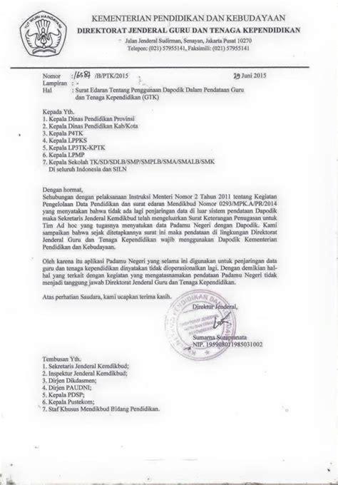 surat edaran penggunaan dapodik dalam pendataan
