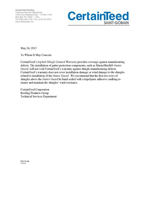 Guarantee Work Letter Letter Of Warranty Free Printable Documents