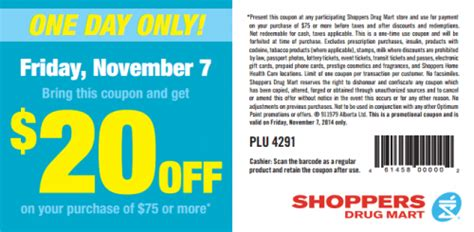 Does Shoppers Drug Mart Sell Gift Cards - shoppers drug mart canada printable coupon save 20 when you spend 75 or more on