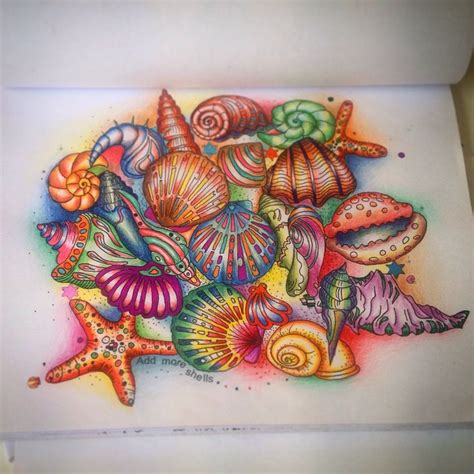 inky ocean creative colouring seashells seashells on the sea shore from book inky ocean adultcoloring adultcolouring