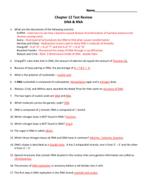 dna and rna section 12 1 chapter 12 dna and rna worksheet answers casademateo