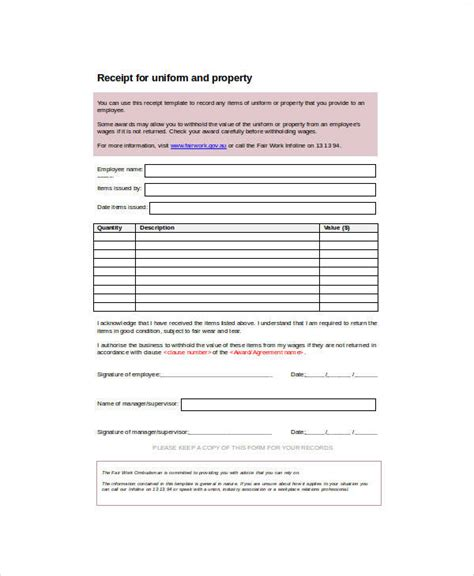 property receipt form template 16 sle receipt forms in doc sle templates