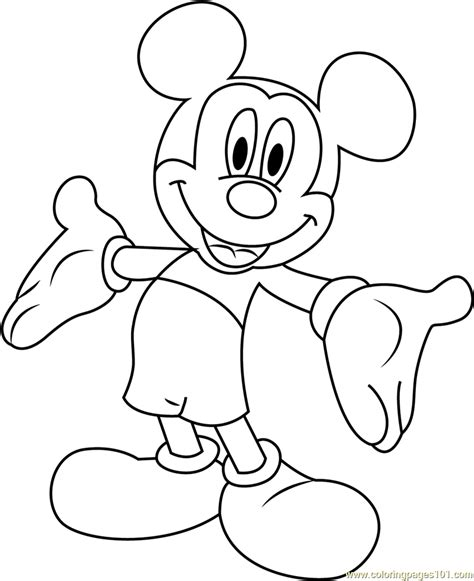 mickey mouse smiling coloring page free mickey mouse