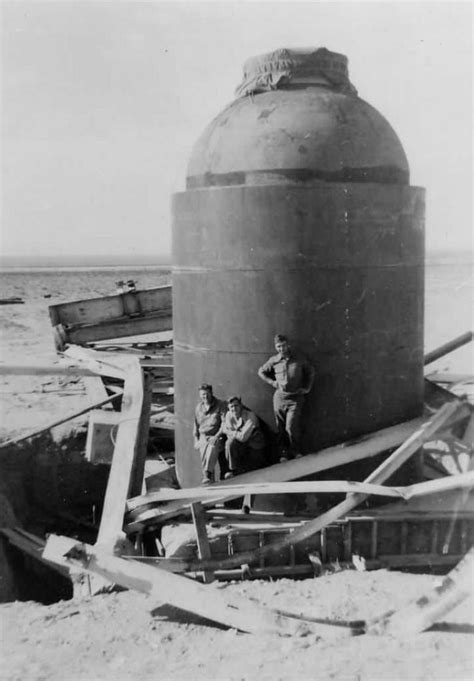"""The remains of """"Jumbo"""", a 200-ton, 14-inch thick steel"""