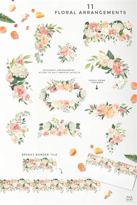 Set Flower serene flower clipart set by twigs and twine on creativemarket