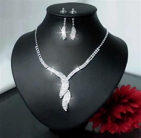 Schmuckset Hochzeit Silber by Schmuckset Collier Kette Ohrringe Armband Strass Silber