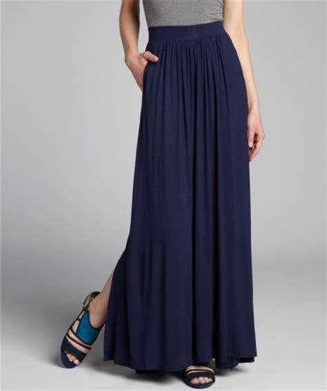 tahari navy sapphire jersey melinda maxi skirt in blue
