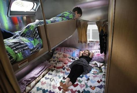 flying bed tour our airstream kids bunks back bedroom area
