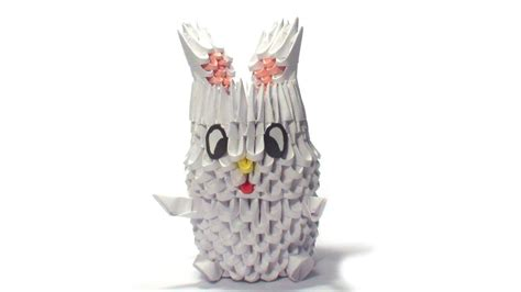 3d origami white rabbit tutorial 3d origami bunny rabbit tutorial youtube