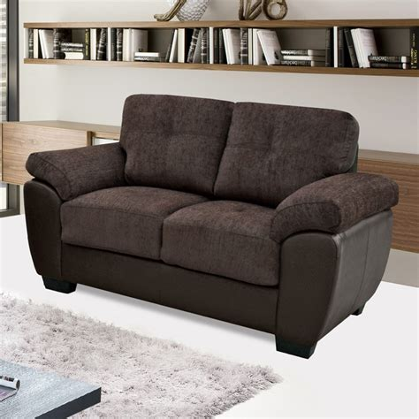Chenille And Leather Sofa Newport Chocolate Brown Chenille Fabric Leather Match Sofa Collection