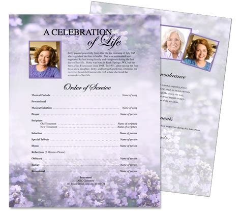 funeral memorial flyers templates sweet lilac one page