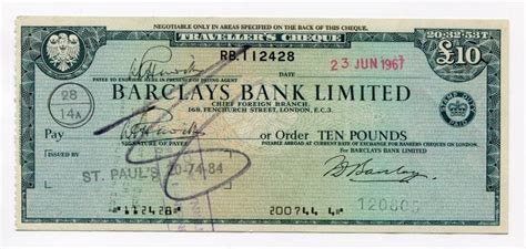 barclays bank currency united kingdom barclays bank travellers cheque dated
