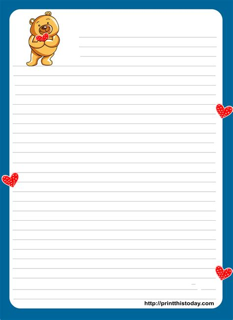 stationery template teddy writing paper for