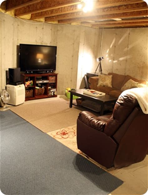 unfinished basement living room january in review from thrifty decor
