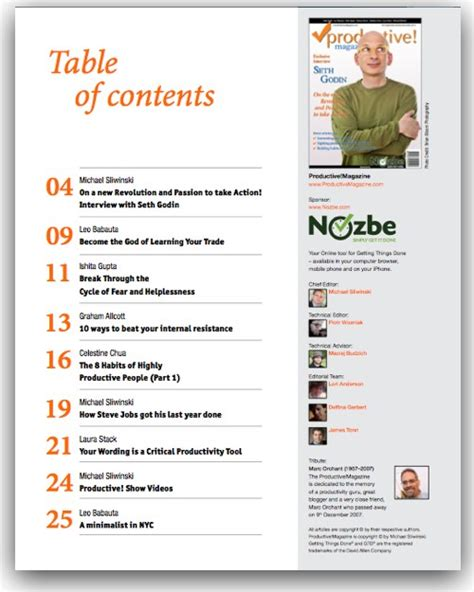 best photos of magazine table of contents template time