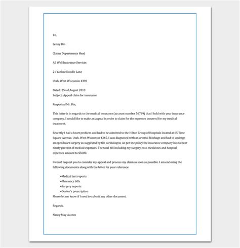 Letter To Insurance Company For Claim Sle Write An Effective Claim Letter 10 Formats Sles Exles