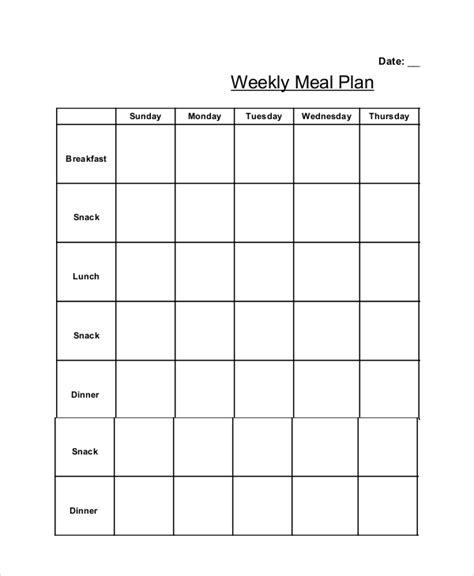 weekly meal calendar template diet calendar template