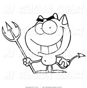 Art Of An Outlined Grinning Devil With A Pitchfork By Hit Toon 26 sketch template
