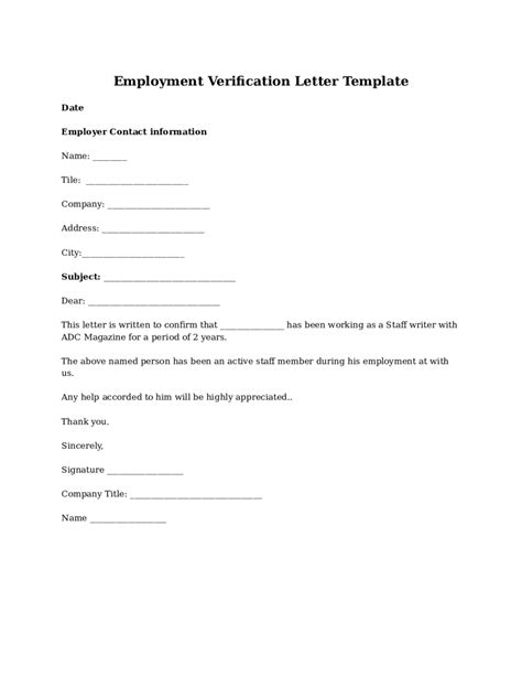 Verification Of Employment Letter Word Employment Verification Letter Template Word Best Business Template