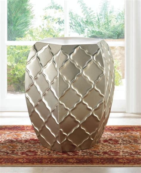 Black Metal Garden Stool by Details About Silver Moroccan Faceted Metal Outdoor