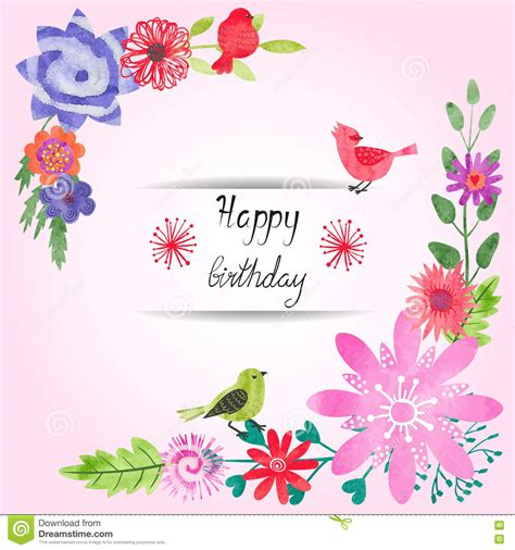 card template for flowers birthday card design with watercolor flowers and