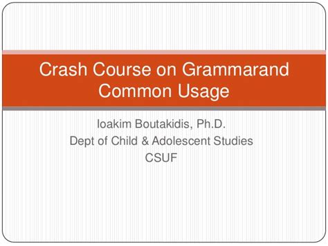 Mba Crash Course Philippines by Crash Course On Grammar And Common Usage