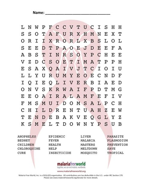 Worldwide Search Malaria Free World Word Search