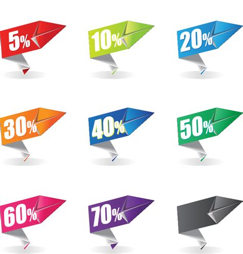 Origami Sale - colorful origami sale label free vector graphic